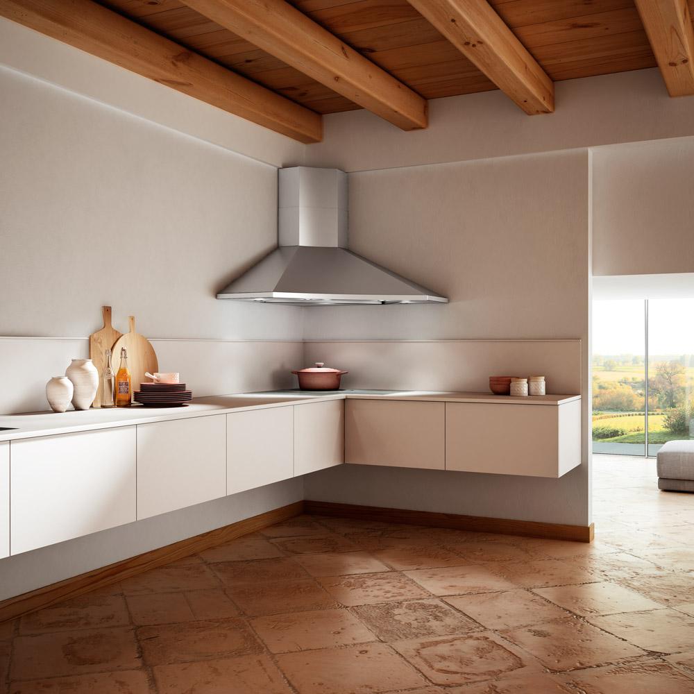 Cucine Moderne Con Cappa Ad Angolo.Cappe Ad Angolo A Camino Per La Cucina Faber Spa