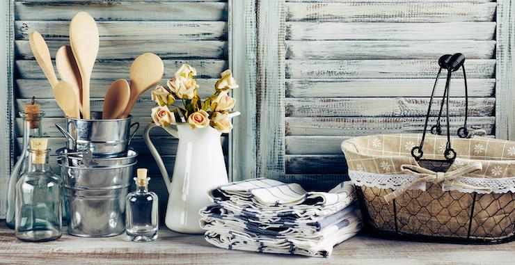 Arredare una cucina in stile shabby chic: i tessuti