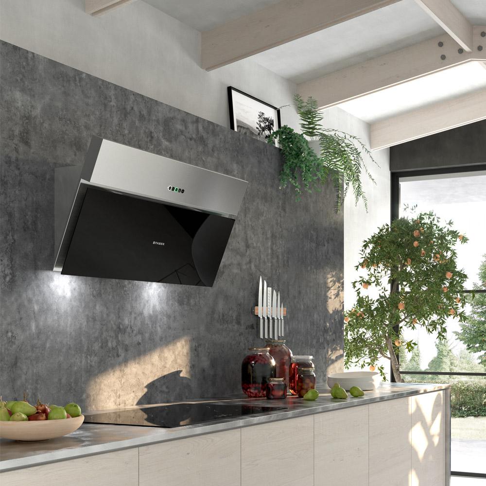 ONYX-V  Versione: Acciaio inox / vetro nero